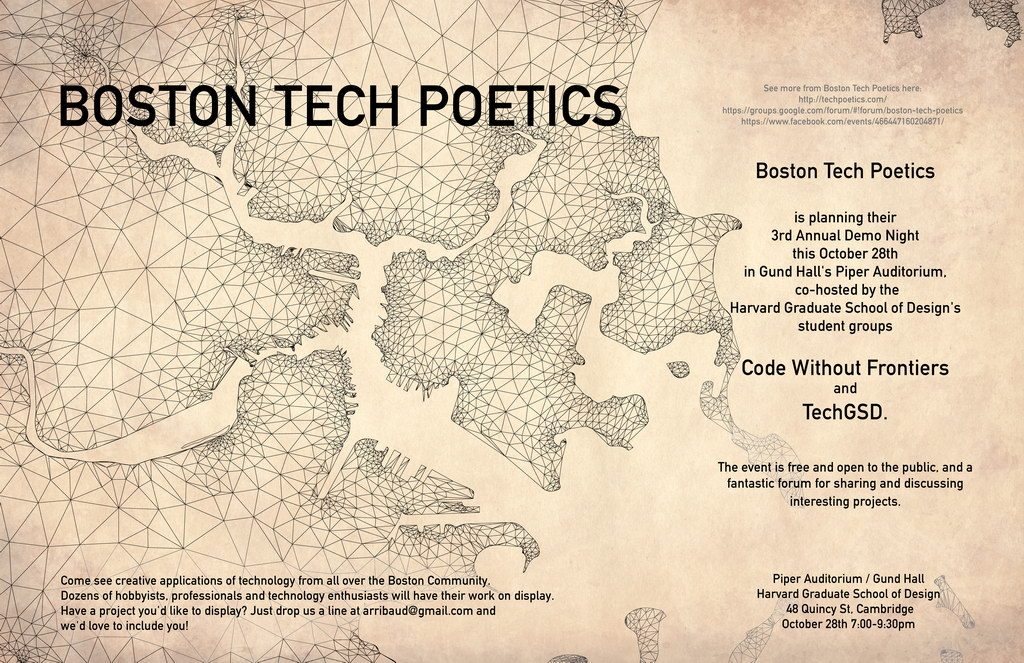 Announcing the Boston Tech Poetics Demo Night 2015